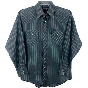 Wrangler Western Pearl Snap button Shirt Striped M